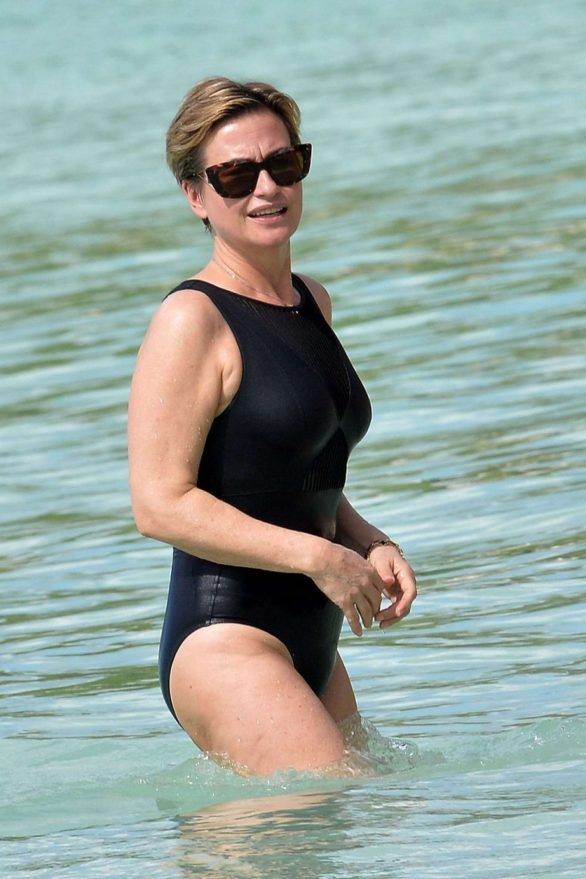 Emma Forbes in Black Swimsuit on holiday in Barbados