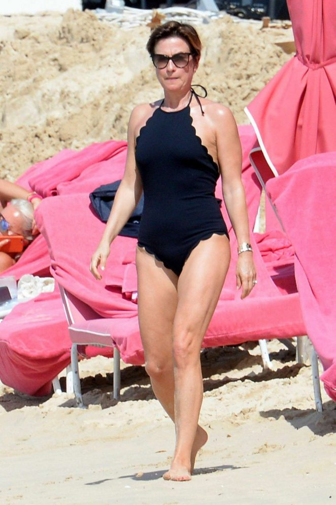 Emma Forbes in Black Swimsuit on Vacation in Barbados