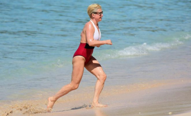 Emma Forbes 2017 : Emma Forbes in Red and White Swimsuit 2017 -38