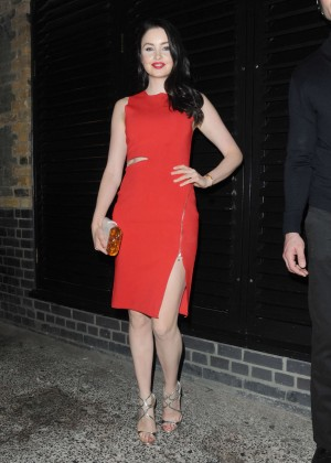 Emma Miller in Red Dress at Chiltern Firehouse in London