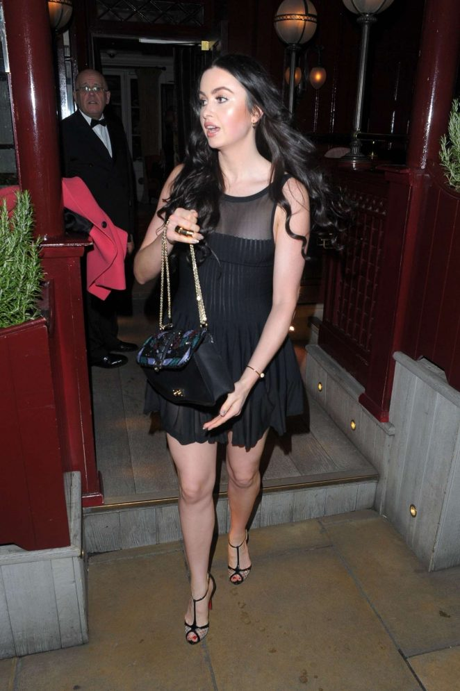 Emma Miller in Black Dress at Loulou's Club in London