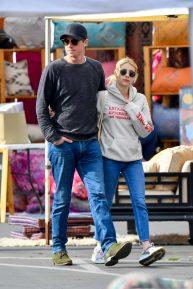 Emma Roberts and boyfriend Garrett Hedlund at a local flea market in Los Angeles