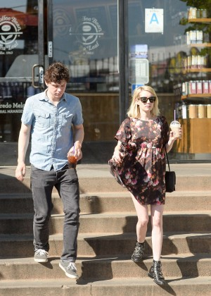 Emma Roberts and Evan Peters at Bristol Farms in West Hollywood