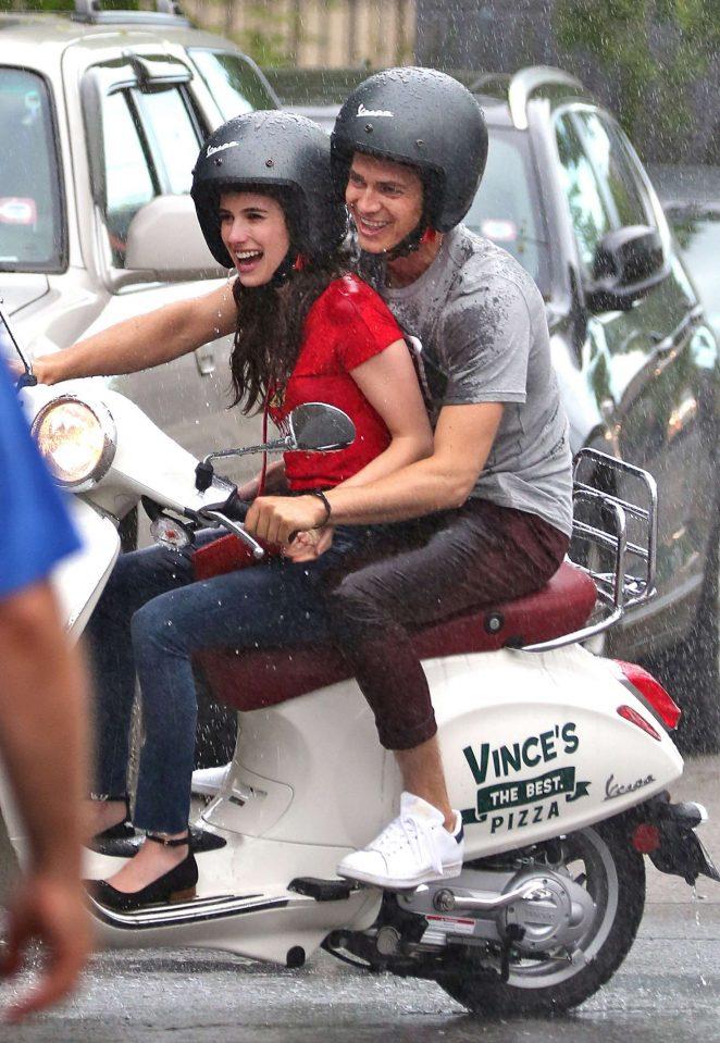 Emma Roberts and Hayden Christensen Films a Scene in Toronto