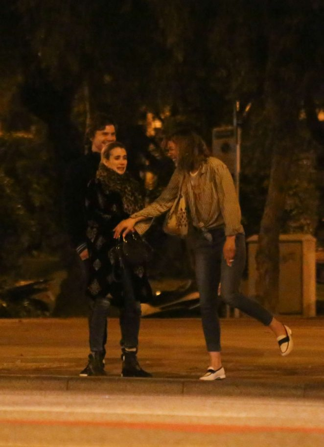 Emma Roberts and Milla Jovovich – Out for dinner to a japanese restaurant in Barcelona