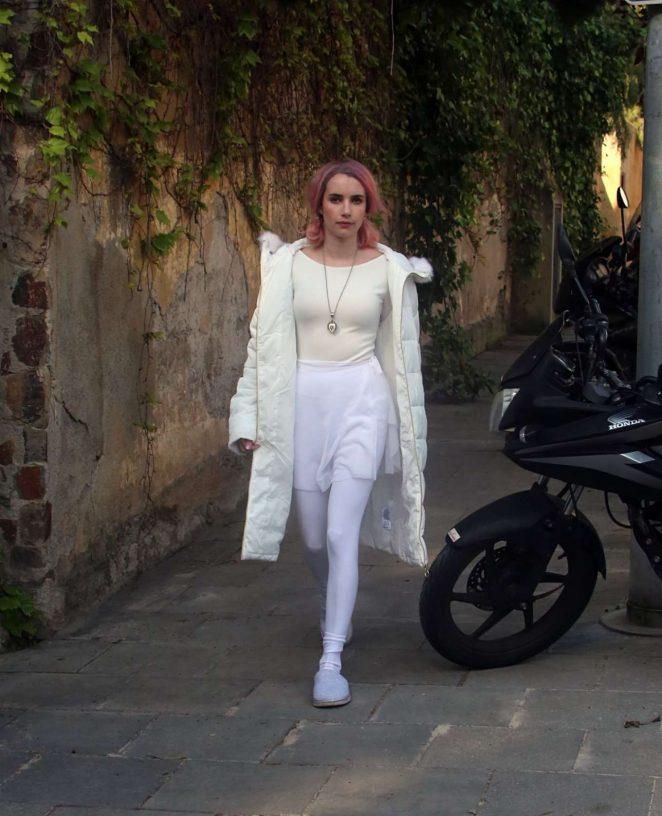 Emma Roberts - Arrives at Set of 'Paradise Hills' in Barcelona