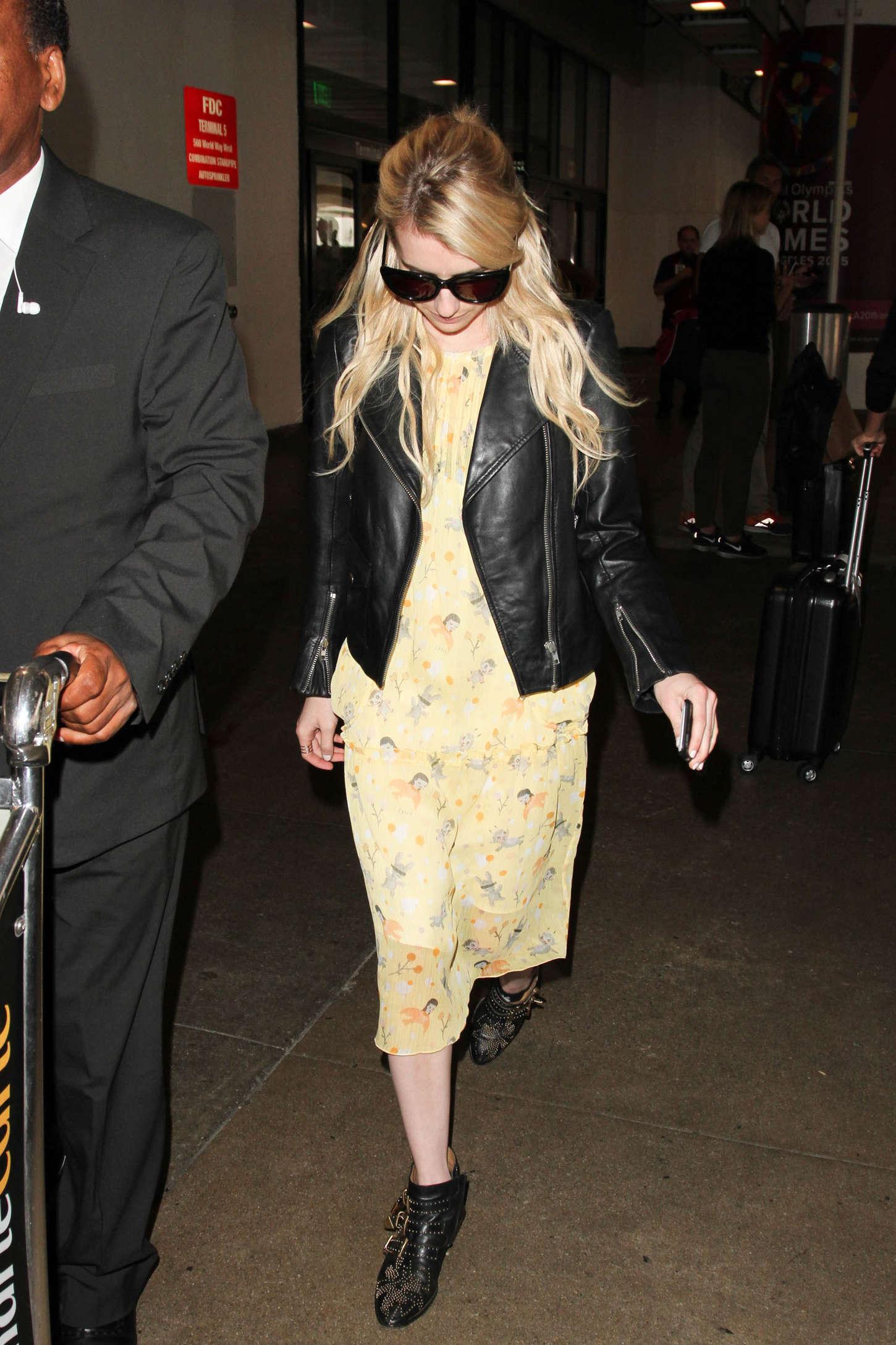 Emma Roberts In Yellow Dress At Lax 03 Gotceleb