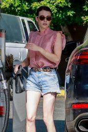 Emma Roberts - fills her tank in Los Feliz