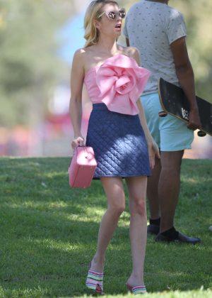 Emma Roberts - Filming 'Scream Queens' in Los Angeles