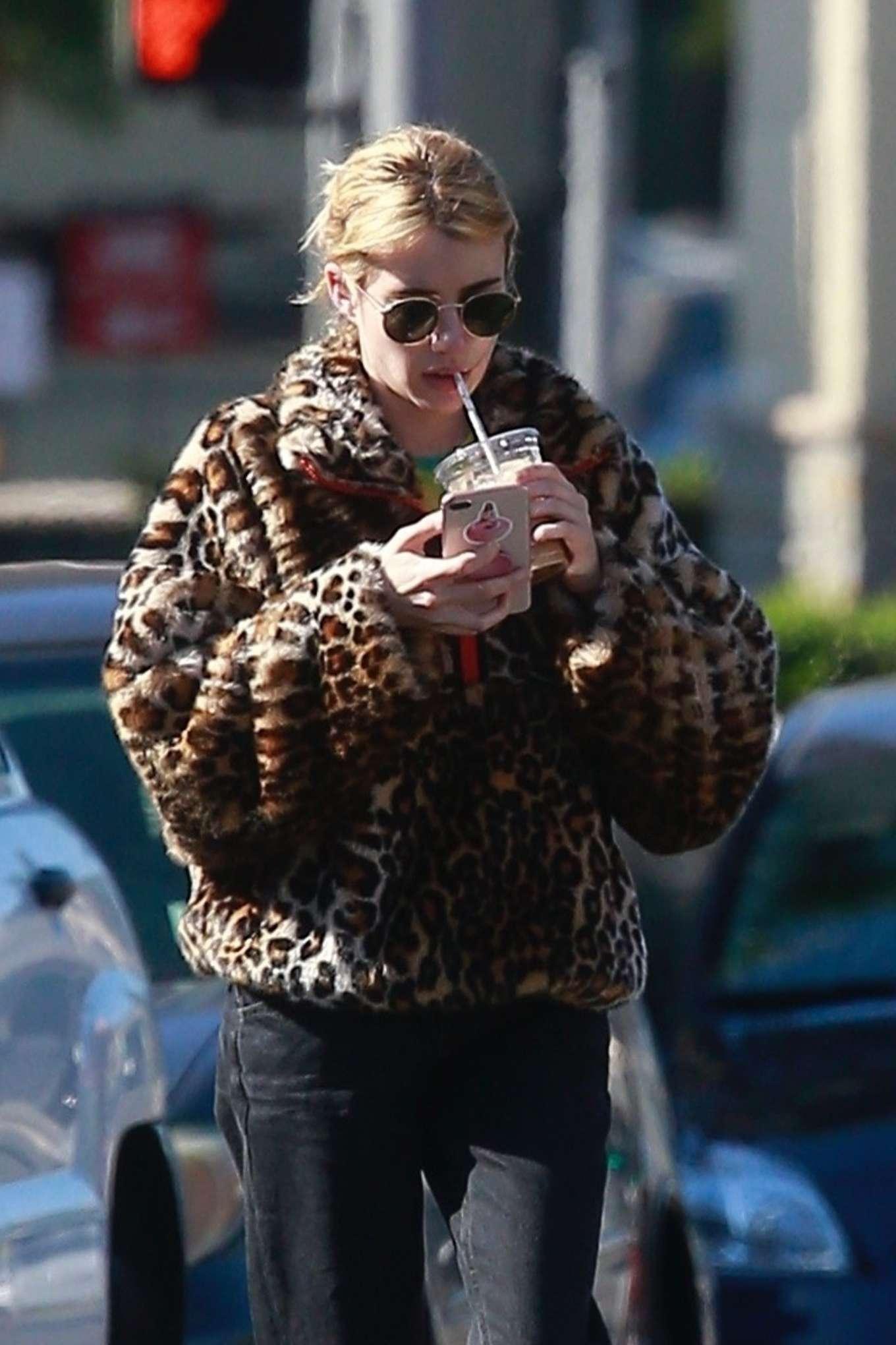 Emma Roberts in Animal Print Jacket - Makes a coffee run in LA