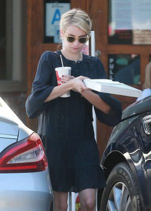 Emma Roberts in Black Dress out for Lunch in Los Angeles