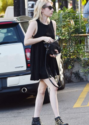 Emma Roberts in Black Mini Dress Out in LA