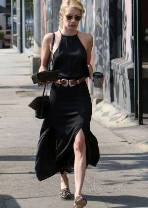 Emma Roberts in Black Dress Out in West Hollywood
