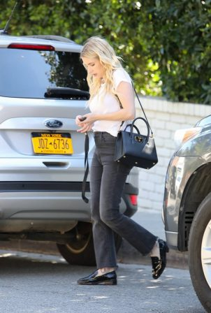 Emma Roberts - In black jeans and a white tee doing photoshoot in Los Angeles