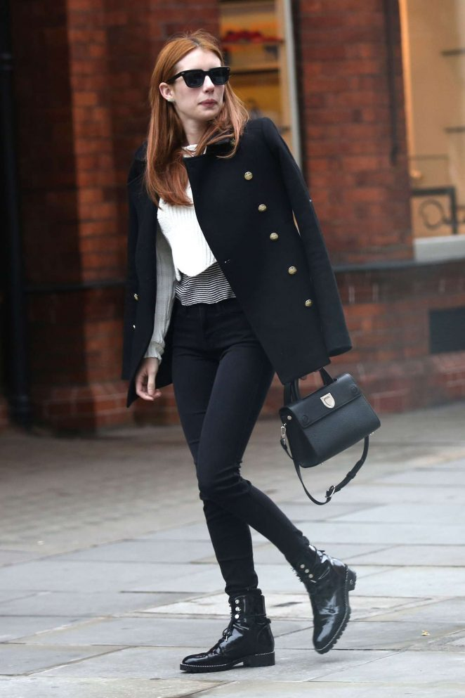 Emma Roberts in Black Jeans out in London