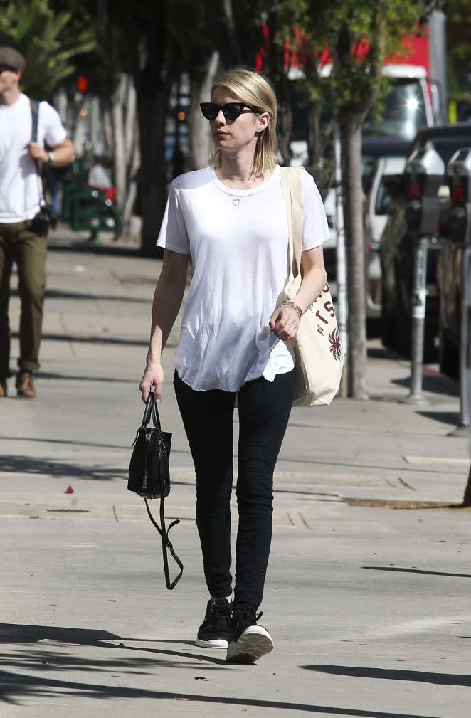 Emma Roberts in Black Jeans out in Los Angeles