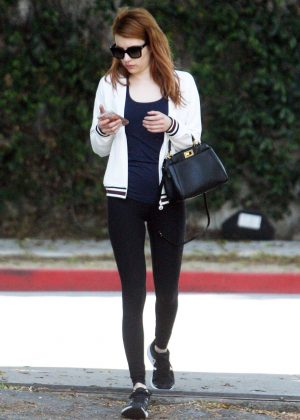 Emma Roberts in Black Leggings out in West Hollywood