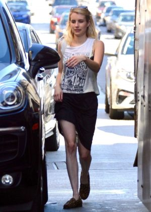 Emma Roberts in Black Skirt - Out in LA