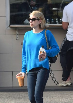 Emma Roberts in Blue Sweater - Out in Los Angeles