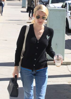 Emma Roberts in cropped denim pants in Beverly Hills