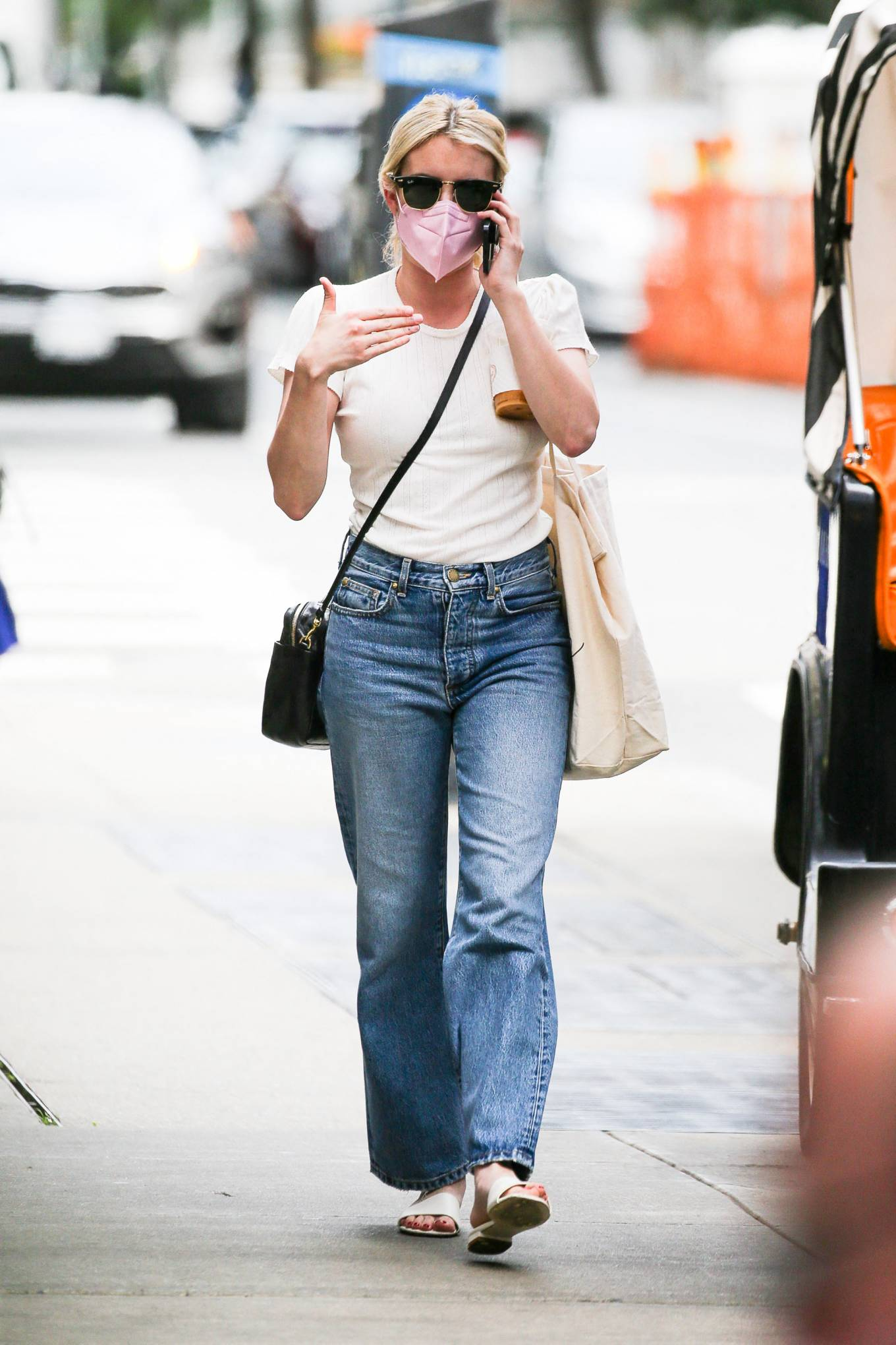 Emma Roberts - In denim pants walking around in New York