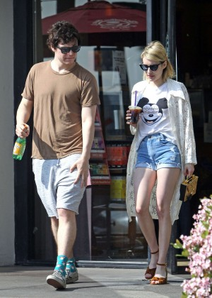 Emma Roberts in Denim Shorts -02