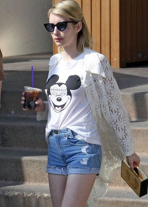 Emma Roberts in Denim Shorts -03