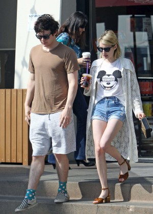 Emma Roberts in Denim Shorts -04