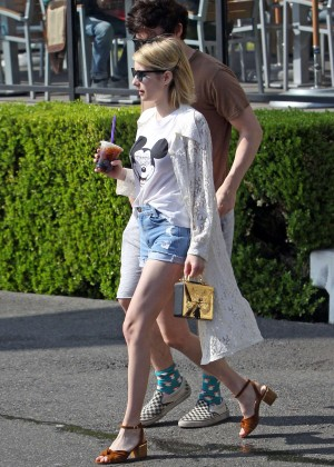 Emma Roberts in Denim Shorts -05