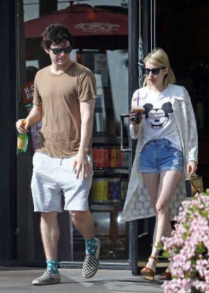 Emma Roberts in Denim Shorts -06