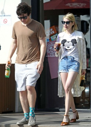 Emma Roberts in Denim Shorts -07