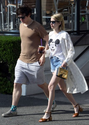 Emma Roberts in Denim Shorts -10