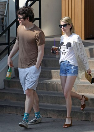 Emma Roberts in Denim Shorts -12