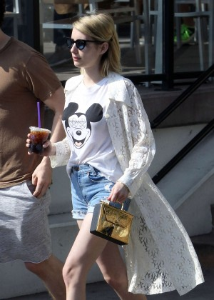 Emma Roberts in Denim Shorts -14