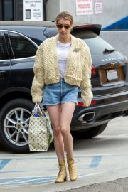 Emma Roberts in Denim Shorts - Out in Los Angeles