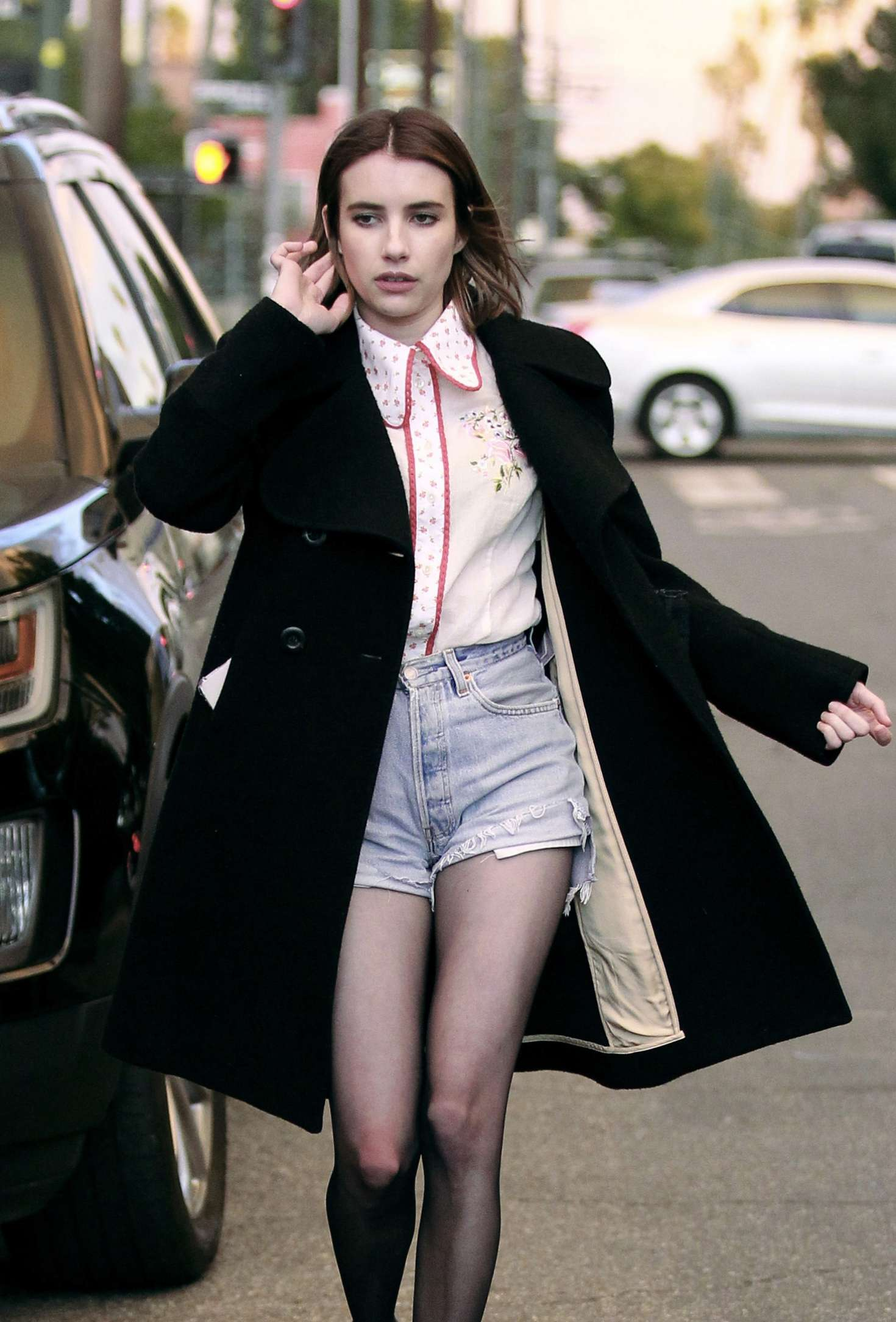 Emma Roberts in Denim Shorts - Out with friends in Los Angeles