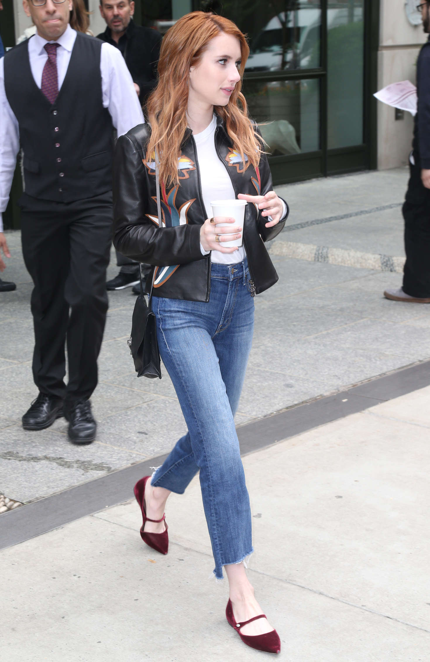 Emma Roberts In Jeans And Leather Jacket 02 Gotceleb