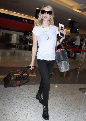 Emma Roberts in Jeans at LAX Airport in LA