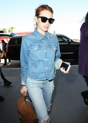 Emma Roberts in Jeans at LAX Airport in Los Angeles