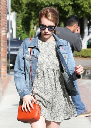 Emma Roberts in Jeans Jacket out in Los Angeles