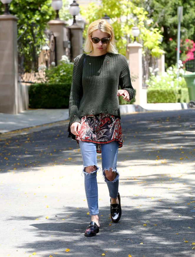 Emma Roberts in Jeans out in Beverly Hills -08