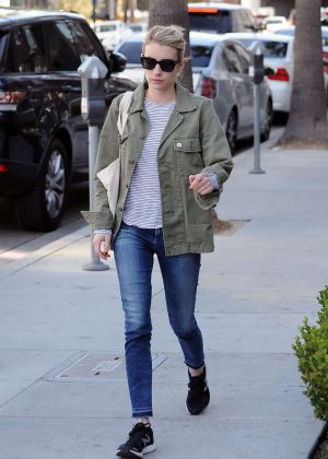 Emma Roberts in Jeans Running Errands in West Hollywood