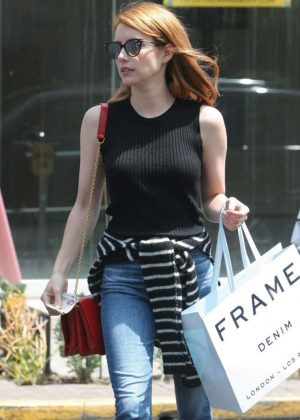 Emma Roberts in Jeans Shopping in West Hollywood