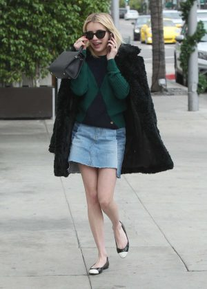 Emma Roberts in Jeans Skirt out shopping in Beverly Hills