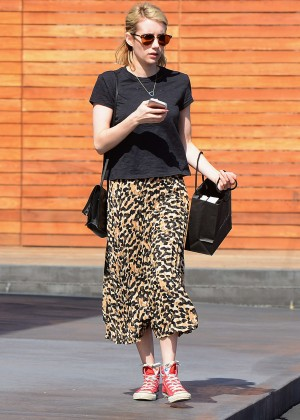 Emma Roberts in Leopard Print Skirt Out in Los Angeles