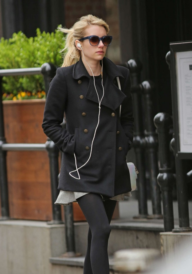 Emma Roberts in Mini Dress Out in New York