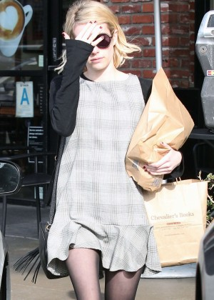 Emma Roberts in Mini Dress Shopping in Los Angeles