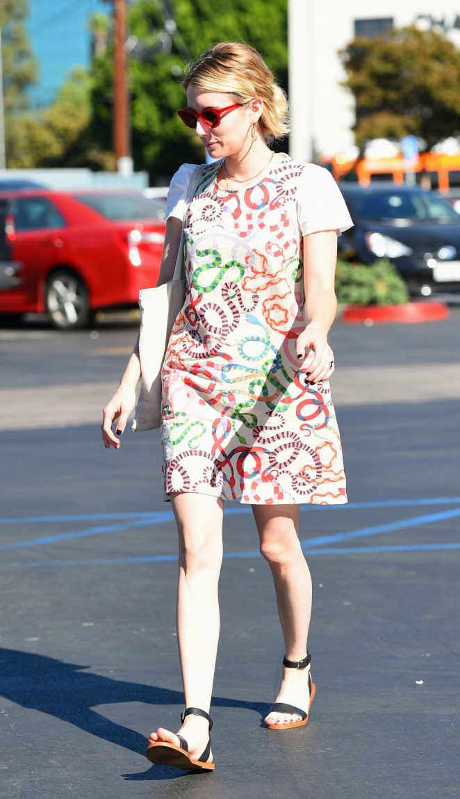 Emma Roberts in Print Mini Dress - Out in Los Angeles