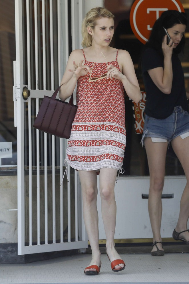 Emma Roberts in Red Mini Dress Out in New Orleans