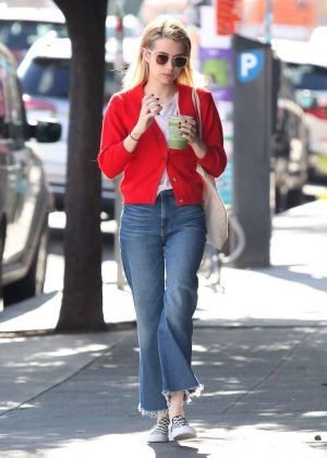 Emma Roberts in Red Sweaters - Out in Los Angeles